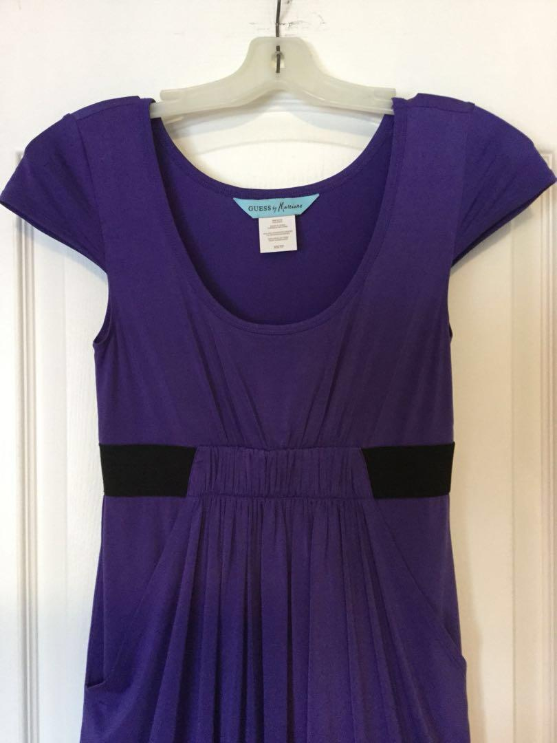 Guess Marciano Purple scoop-neck cap-sleeved dress. Size XS, X-Small. Ladies/ Girls/ Teens