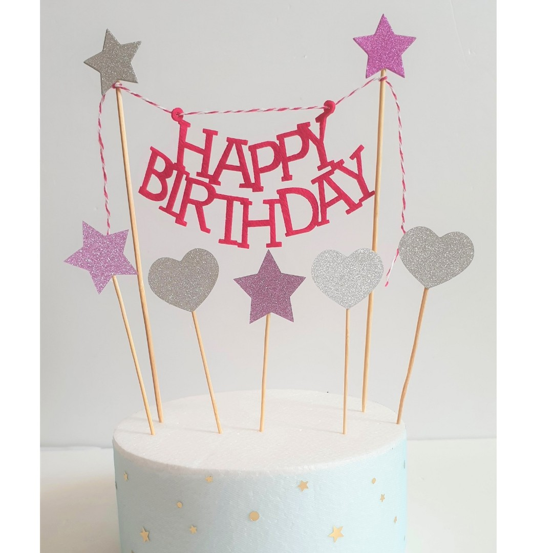Happy Birthday Cake Banner With Hearts Stars Set Design Craft Others On Carousell