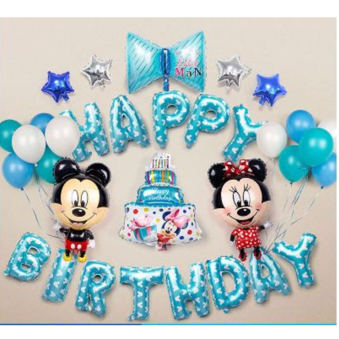 In StockBlue Mickey Mouse Birthday Party Decoration Set Design