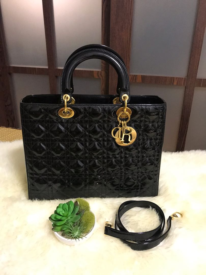 ad6960e01 Lady Dior Large Patent Black With Ghw, Luxury, Bags & Wallets ...