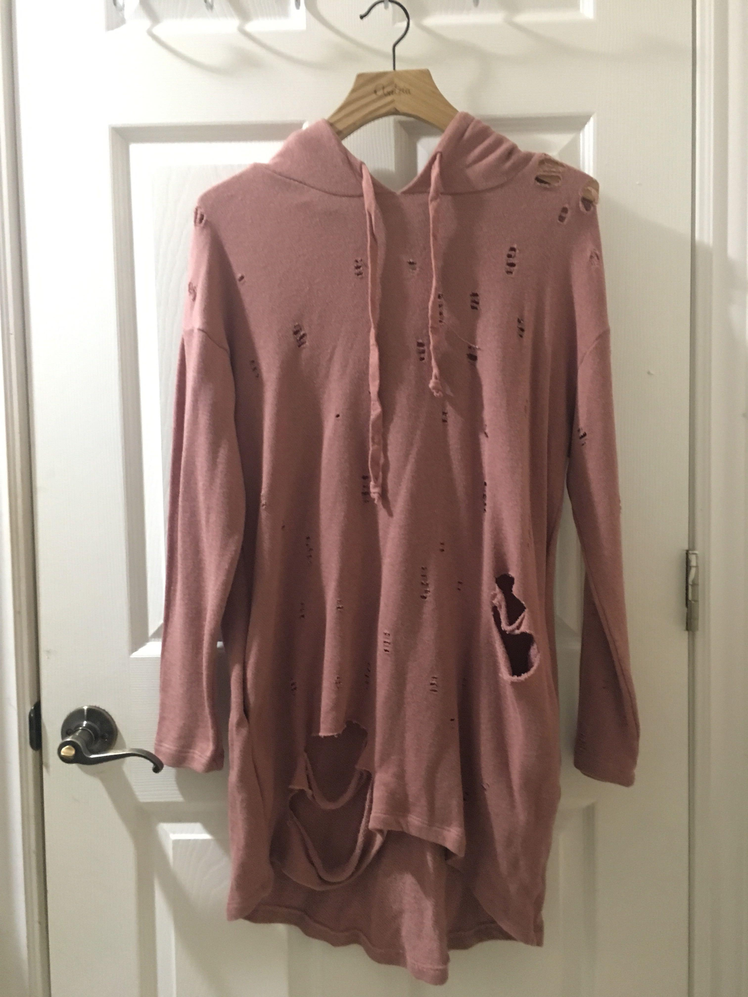 M Boutique Distressed Hoodie Dress
