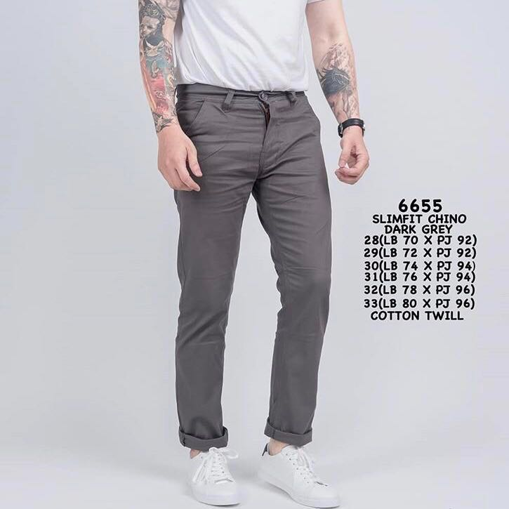 Men Chino Pants Slimfit Dark Grey Men S Fashion Clothes Bottoms
