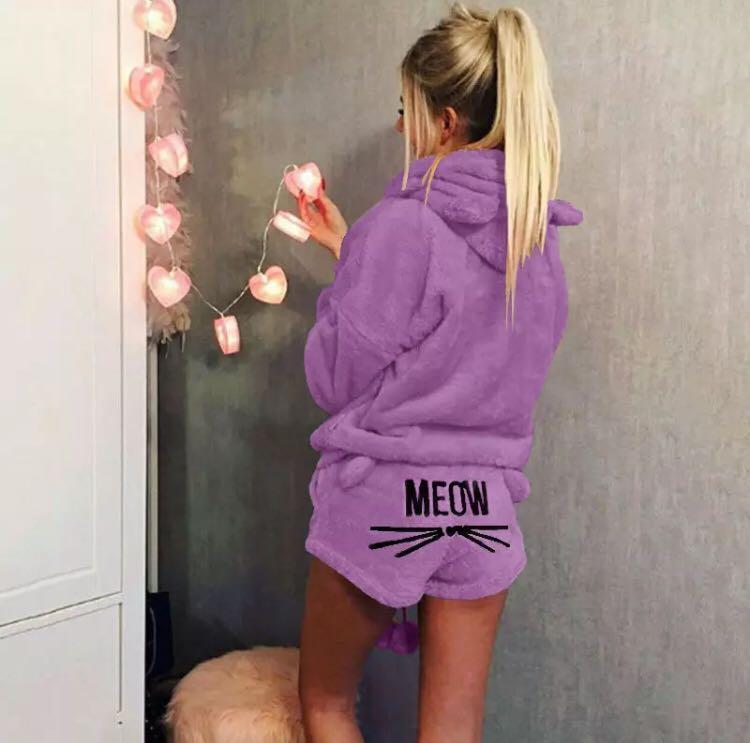 98bb67f4c02b PO) S-5XL Cute Pajama Sets For Women Winter Hooded Sleepwear Flannel ...