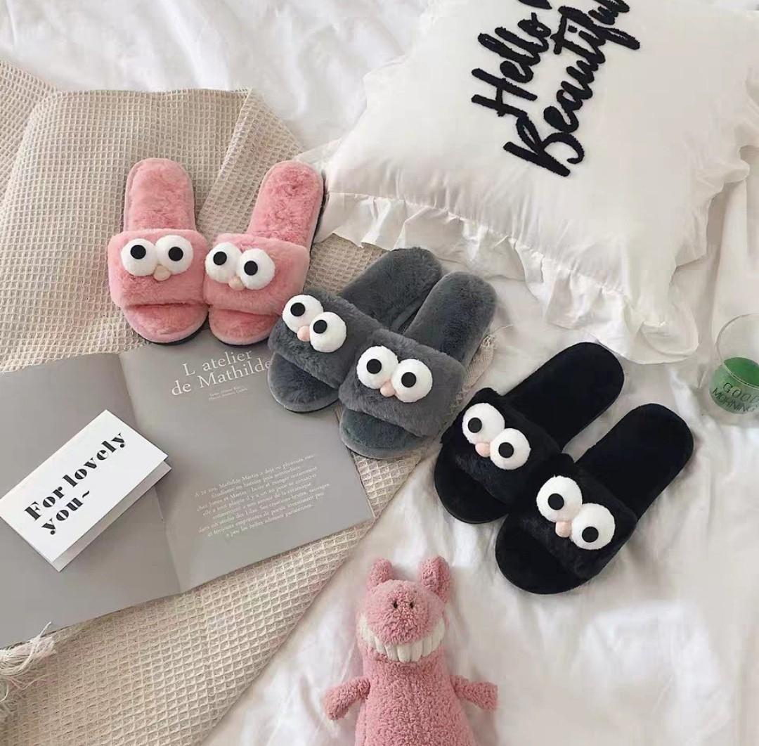 0d0baf4eb7e2 po  ulzzang furry sesame street slippers
