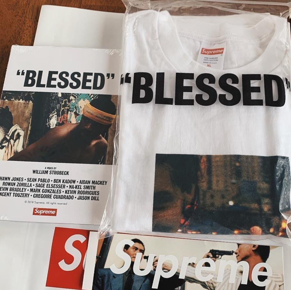 "2f50e7d099f1 Supreme FW18 ""BLESSED"" Tee, Men's Fashion, Clothes, Tops on Carousell"