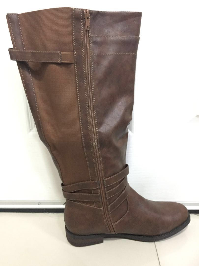 2052ff6ff7bf Torrid Brown Camel US Size 11 FAUX LEATHER BUCKLE BOOT (WIDE WIDTH ...