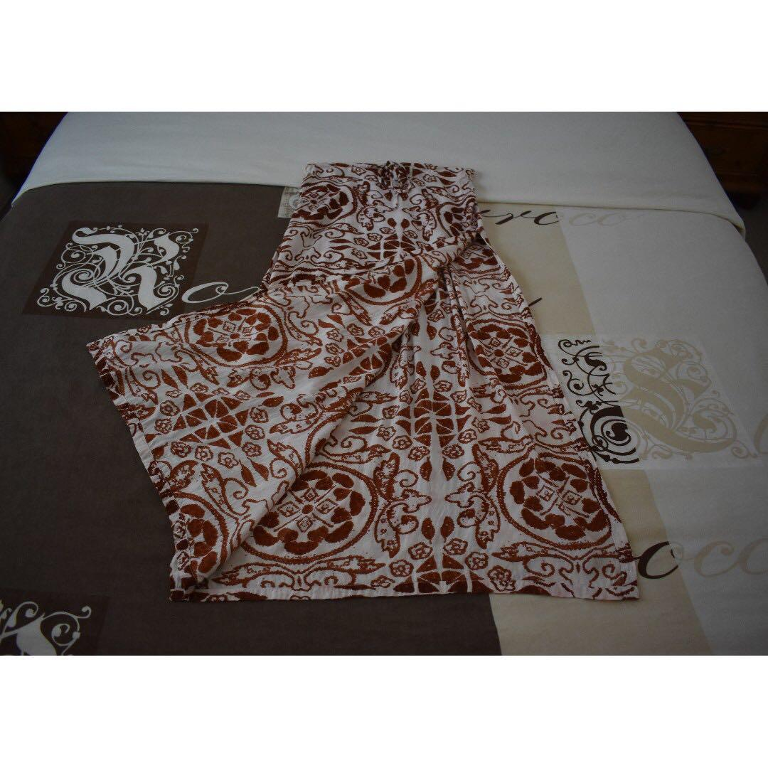 Tree of Life Abstract Print Cream and Burgundy High-Waisted Maxi Split Skirt Size Small