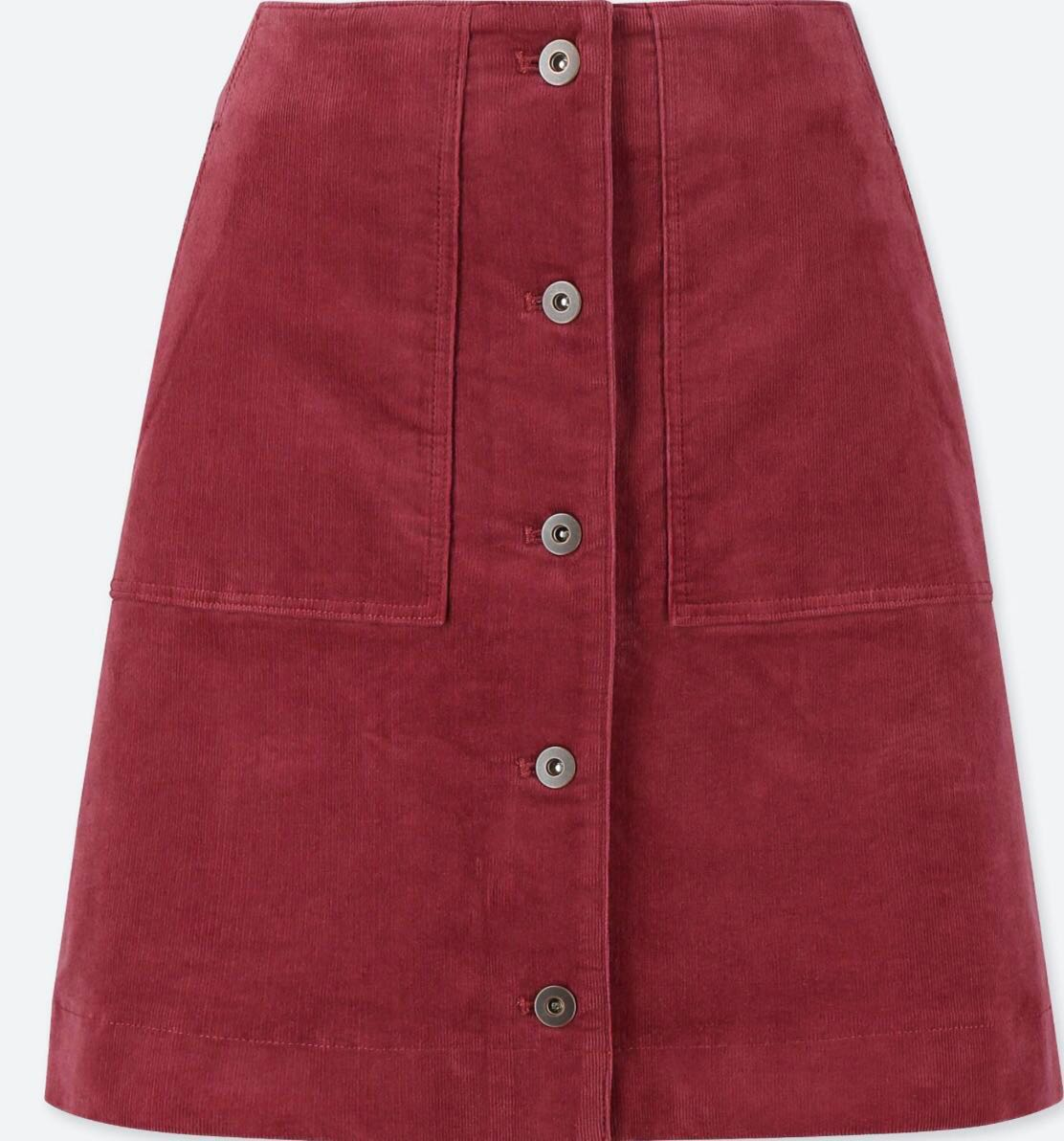 3aff59f9c67 UNIQLO CORDUROY FRONT BUTTON HIGH-WAIST MINI SKIRT (WINE