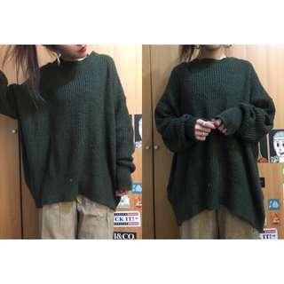 🚚 Vii&co軍綠oversize厚針織毛衣