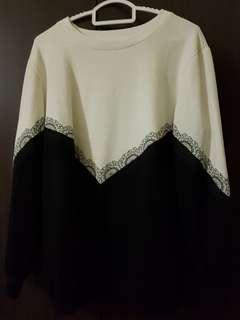 Cream on Black Colour Block Sweater Top
