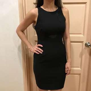 Little Black Bodycon Dress with Mesh cutout