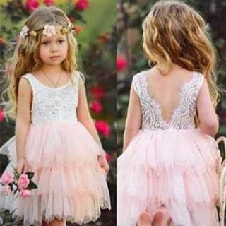 🚚 ⭐️Instock⭐️ Pink Layered Tulle Dress