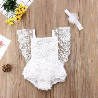 🚚 ⭐️Instock⭐️ White Lace Romper with matching headband