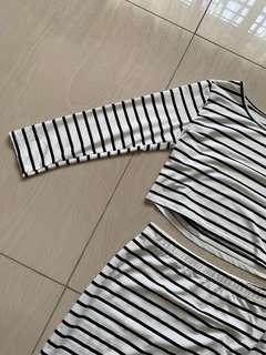 stripes set wear ; crop top, midi skirt #DEC50
