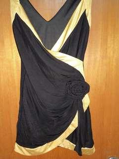 Black golden woman Evening Dress