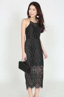 MDS Collections Lace Midi Dress in Black