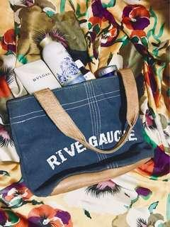 WEAR FRENCH DESIGNER FLAIR - Authentic Waxed Blue Denim-&-Leather Minimalist Essential Tote Bag - Francs Bourgeois Rive Gauche Sac du Jour