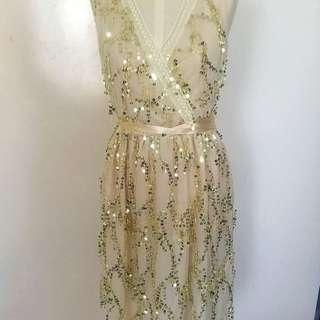 Gian Carlo Champagne Sequin Dress