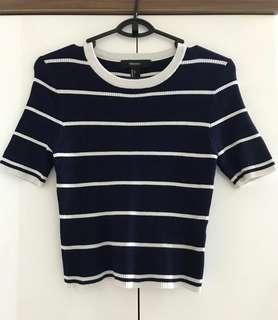 Forever 21 Navy Striped Crop Knit Top