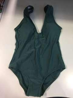 New green padded push up bathing swimsuit one piece bikini