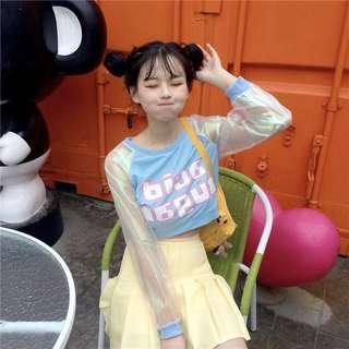 Women T shirt Harajuku Kawaii Patchwork Letter Tops Tee Female Fashion Ulzzang Summer Mesh T-shirt Preppy Style