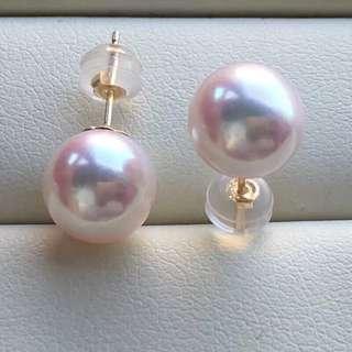 8.5-9mm akayo  Japan Pinkish pearls 18k gold  ear stud
