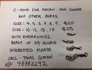 C hook for sun conure and other birds !