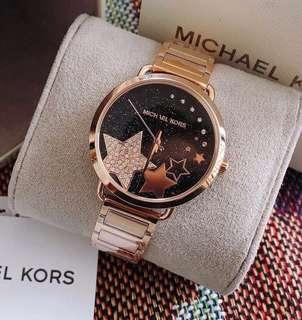 Sale‼️MK Portia Celestial Star Black Dial Rose Gold Tone Ladies Watch Php 3,500