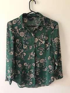 Bardot Deep Green Floral Blouse Button Up