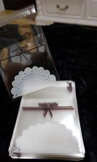 NEW 40pcs Mini Clear HandMade w/ Lace Design Self-Adhesive Souvenir Cookie or Candy Plastic Pouch 7cm
