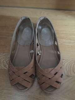 Cotton on brown flat shoes