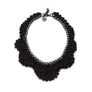 Vanessa Arizaga Thick Crochet Black Necklace w/ Gunmetal Chain