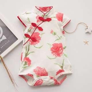🚚 Instock - red rose cheongsam romper, baby infant toddler girl