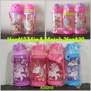 1for$12 2for$20 Unicorn with or without straw Children Water Bottle