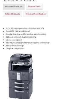 KYOCERA TASKalfa 250ci Industrial Colour Printer Scanner Photocopier with Toner Kits and Colour Ink provided