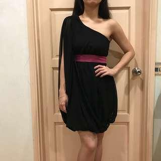 One Shoulder Black  Bubble Dress