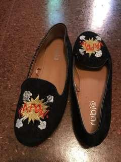RUBI SHOES 'KAPOW' EMBROIDERED FLATS