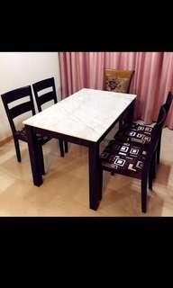 Real Solid Marble Dining Table Set