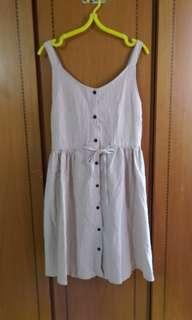 🚚 單排釦米色棉麻背心裙 背心洋裝 哺乳洋裝