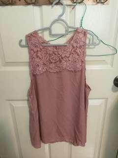 🚚 Dusty Pink Top (Lace and Chiffon)