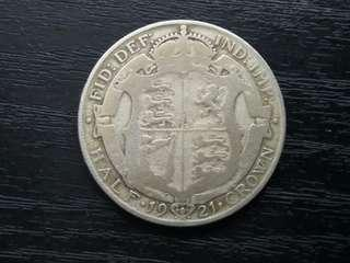 1921 UK Half Crown King George V Silver Coin