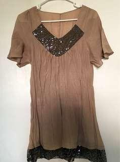 Light brown egyptian blouse with sequins