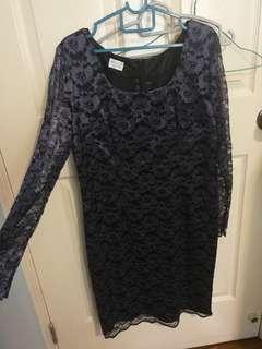 Black Lace Dress (shiny light purple floral design) Size L/XL/UK 14