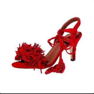 Fringed gladiator heel sandals strapped shoes