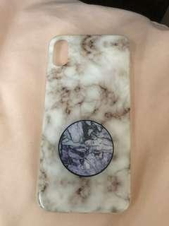 iPhone X Marble Case w/ Pop Socket
