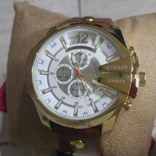 Men fashion watch gold white