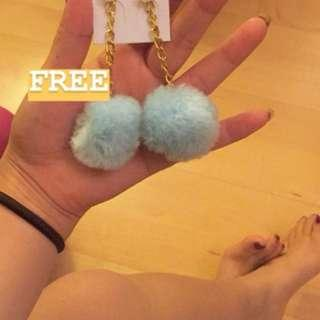 Blue Pom Pom earring