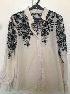 Embroidered Button-Down Top