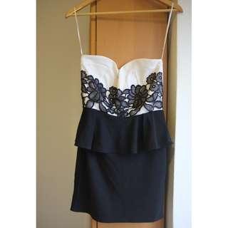 Black & White Cocktail Tube Dress