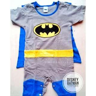 DISNEY BATMAN ONESIE COSTUME WITH DETACHABLE CAPE AND SNAP BUTTONS